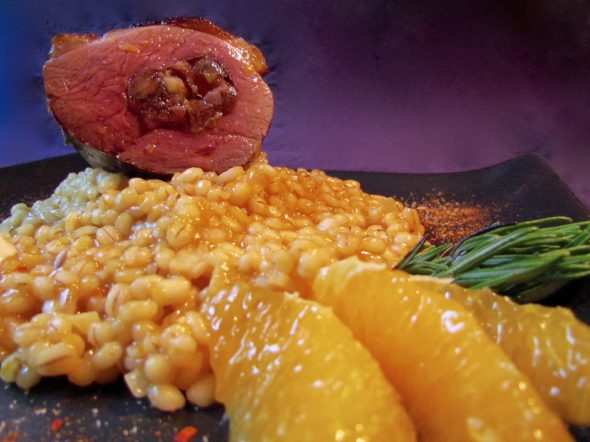 Bacon-Date-Walnut-Stuffed-Duck-and-Blood-Orange-Barley-Risotto-2