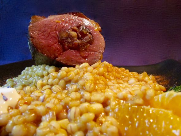 Bacon-Date-Walnut-Stuffed-Duck-and-Blood-Orange-Barley-Risotto-4
