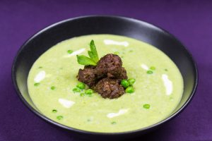 Minted-Pea-Soup-with-Lamb-Meat-Balls-2