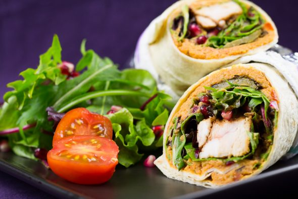 Spicy-Chicken-Wrap-Tomato-Hummus-Grilled-Vegetables-3