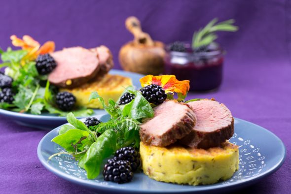 Maple-Glaced-Duck-Blackberry-Sauce-Lemon-Thyme-Polenta-3