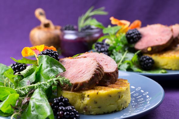 Maple-Glaced-Duck-Blackberry-Sauce-Lemon-Thyme-Polenta-4
