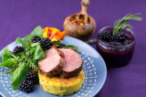Maple-Glaced-Duck-Blackberry-Sauce-Lemon-Thyme-Polenta-5
