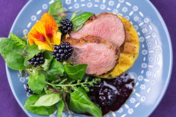 Maple-Glaced-Duck-Blackberry-Sauce-Lemon-Thyme-Polenta-7