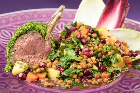 Herb-Crusted-Honey-Lamb-Lentil-Quince-Salad-4