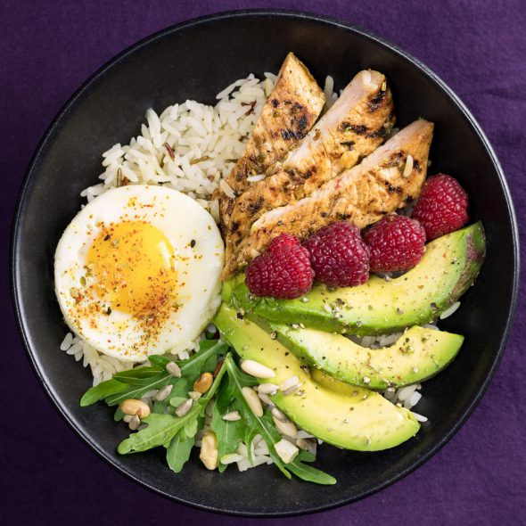 Lemony-Turkey-Bowl-Avocado-Raspberries-4