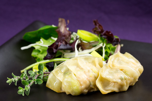 Chicken-Leak-Gyoza-Mango-Papaya-Sage-Salad-1