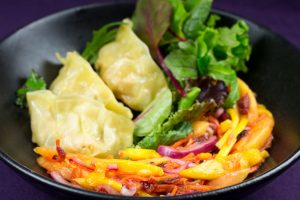 Chicken-Leak-Gyoza-Mango-Papaya-Sage-Salad-3