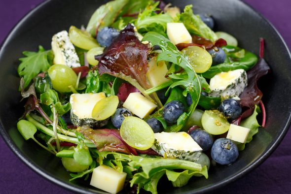 Wild-Herb-Cheese-Salad-Grapes-Blueberries-Maple-Syrup-Lemon-Dressing-2