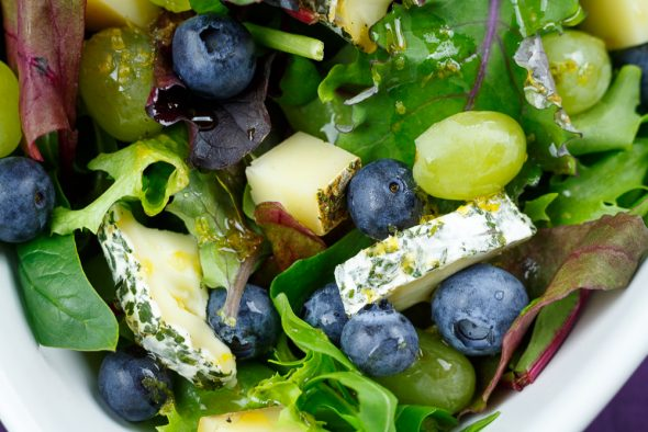 Wild-Herb-Cheese-Salad-Grapes-Blueberries-Maple-Syrup-Lemon-Dressing-4