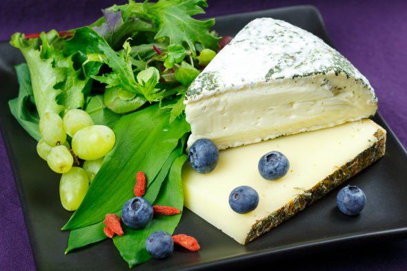 Wild-Herb-Cheese-Salad-Grapes-Blueberries-Maple-Syrup-Lemon-Dressing