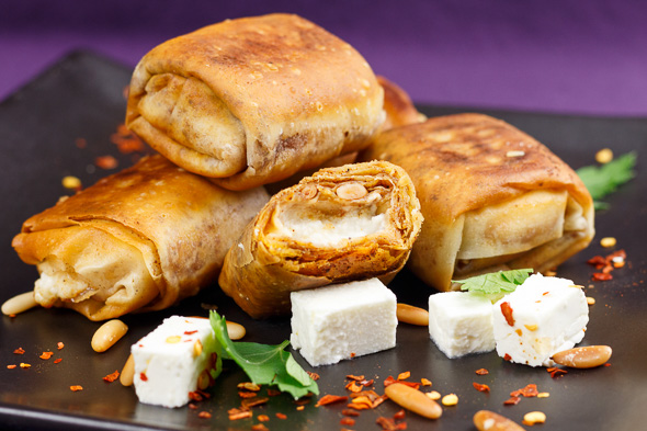 Roasted-Pepper-Apricot-Gazpachio-Goats-Cheese-Filo-Parcels-2