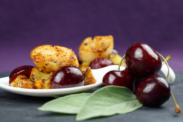 Scallops-Black-Cherries-Crispy-Pastis-Kissed-Potatoes-1