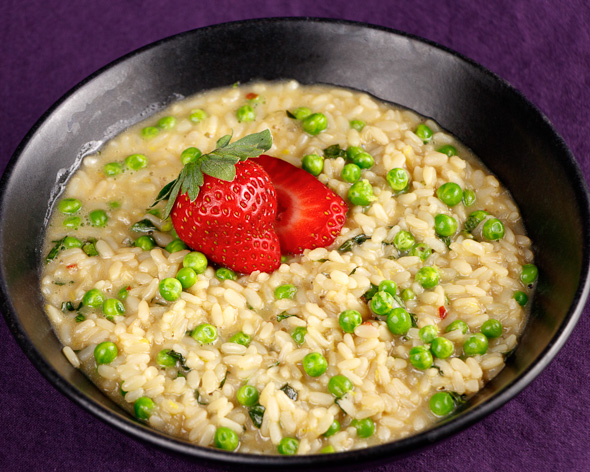 Thyme-Poached-Veal-Pea-Wild-Garlic-Risotto-Strawberries-1