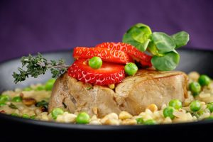 Thyme-Poached-Veal-Pea-Wild-Garlic-Risotto-Strawberries-4