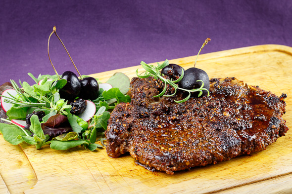 Coffee-Rubbed-T-Bone-Steaks-Black Cherry-Malt-Beer-Glaze-4