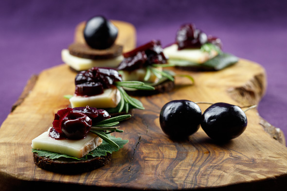 Herby-Polenta-Tiles-Black-Cherry-Red-Onion-Chutney-Taleggio-Cheese-3
