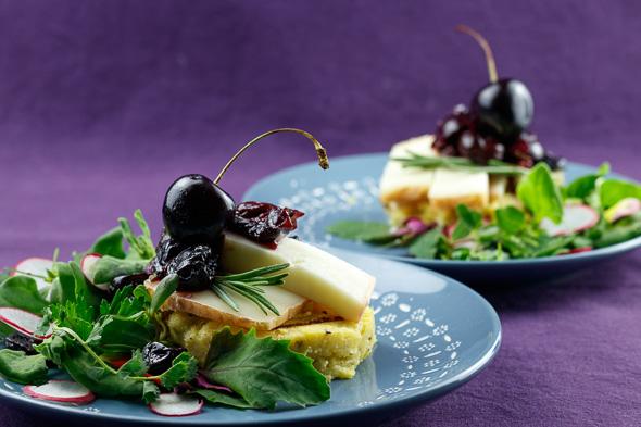 Herby-Polenta-Tiles-Black-Cherry-Red-Onion-Chutney-Taleggio-Cheese-4
