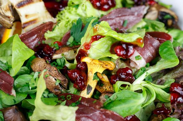 Wild-Mushroom-Salad-Smoked-Duck-Breast-Maple-Syrup-Vinaigrette-1