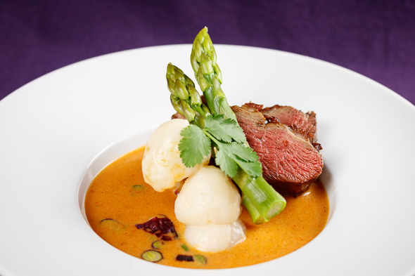 Crispy-Red-Duck-Lotus-Root-Curry-Lychees-Asparagus-1