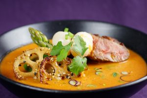 Crispy-Red-Duck-Lotus-Root-Curry-Lychees-Asparagus-2