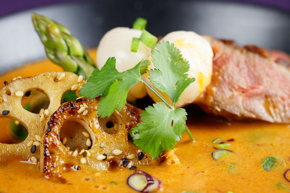 Crispy-Red-Duck-Lotus-Root-Curry-Lychees-Asparagus-3