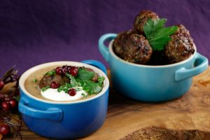 Leek-Wild-Mushroom-Soup-Venison-Meatballs-3