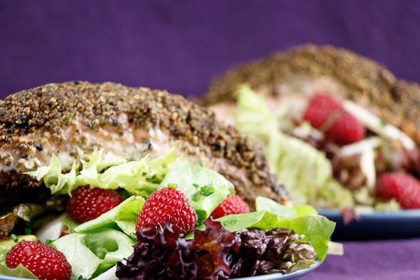Matcha-Tea-Crusted-Salmon-Fennel-Avocado Salad-Raspberry-Lime-Dressing-1