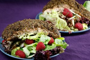 Matcha-Tea-Crusted-Salmon-Fennel-Avocado Salad-Raspberry-Lime-Dressing-2