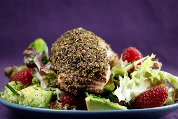 Matcha-Tea-Crusted-Salmon-Fennel-Avocado Salad-Raspberry-Lime-Dressing-3