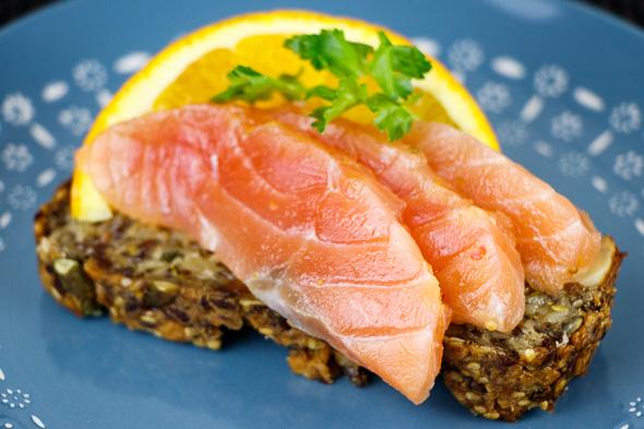 Gluten-Free-Paleo-Nut-Bread-Fennel-Orange-Cured-Salmon-Caramelized-Greengage-Rosemary-Jam-4