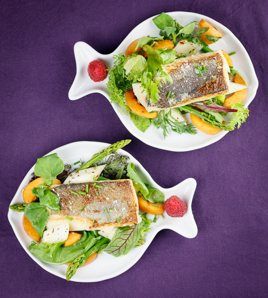 Pan-Seared-Hake-Wild-Herb-Loquat-Asparagus-Salad-Raspberry-Vinaigrette-1
