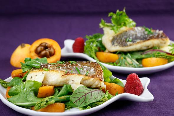 Pan-Seared-Hake-Wild-Herb-Loquat-Asparagus-Salad-Raspberry-Vinaigrette-2